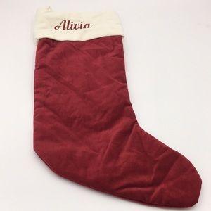 """Pottery Barn Velvet Christmas Stocking """"Alivia"""""""